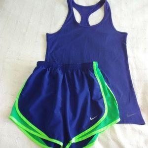 Nike Dri-Fit Workout Tank & Shorts Small